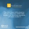 Advisory: OML Center on a break for Eid'l Adha